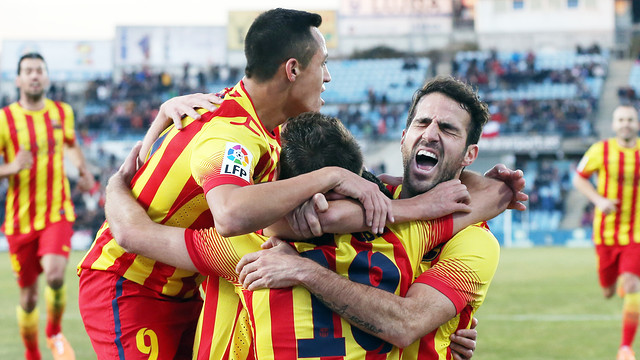 The players celebrate a goal in Getafe. PHOTO: MIGUEL RUIZ-FCB.