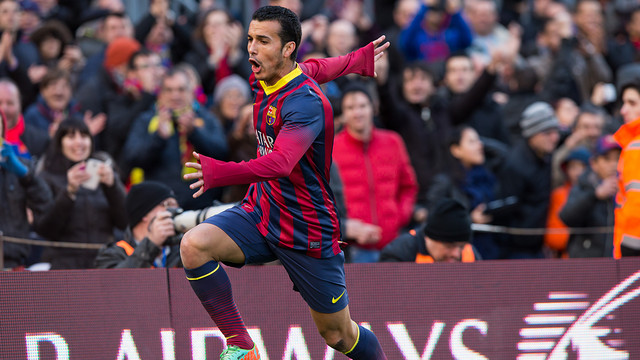 Pedro celebrates his goal / PHOTO: GERMÁN PARGA-FCB