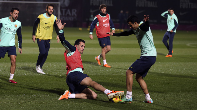 Busquets and Pedro in training / PHOTO: MIGUEL RUIZ - FCB