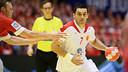Lazarov, en un momento del partido ante Dinamarca / FOTO:EHF