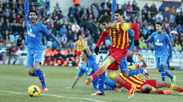 Piqué vs Getafe in the league. PHOTO: MIGUEL RUIZ-FCB.