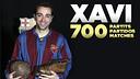 Xavi has made 700 official appearances for FC Barcelona