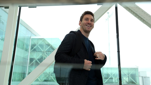 Leo Messi, at El Prat Airport / PHOTO: MIGUEL RUIZ-FCB