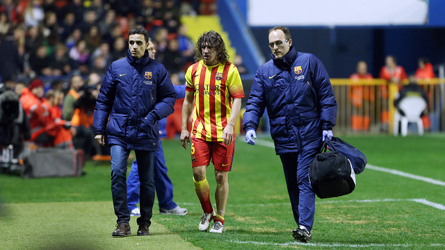 Carles Puyol, walking off after his injury against Levante