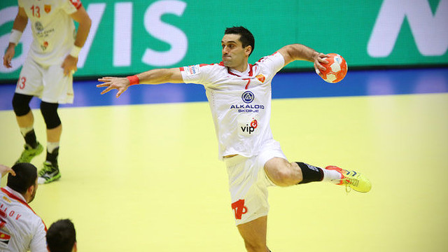 Kiril Lazarov playing for Macedonia. / PHOTO:EHF-HOCEVAR