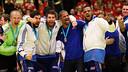 Karabatic y Sorhaindo, celebrando la medalla de oro en Dinamarca. / FOTO:EHF-Pillaud/Hocevar