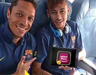 Imatge de Neymar Jr. promocionando la nueva App del Seient Lliure
