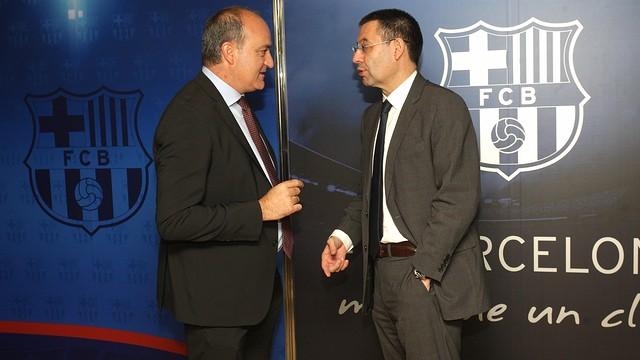 Josep Maria Bartomeu and Andreu Subies / PHOTO: MARTA BECERRA - FCB