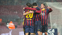 L'equip celebra el gol de Puyol marcat a la Copa contra el Llevant / FOTO: GERMÁN PARGA - FCB
