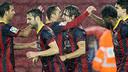 The players celebrate Puyol's goal. PHOTO: MIGUEL RUIZ - FCB