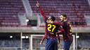 Adama, after scoring against Hercules / PHOTO: VÍCTOR SALGADO-FCB