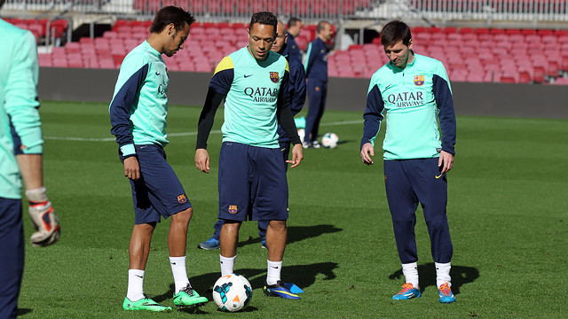 Messi, Adriano and Messi in training. PHOTO: MIGUEL RUIZ-FCB.