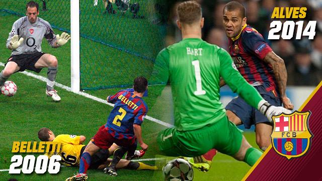 Los goles de Belletti y Alves.