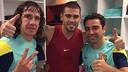 Valdés, al costat de Puyol i Xavi / FOTO: @1victorvaldes