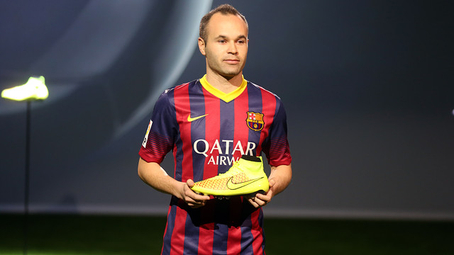 Andrés Iniesta is promoting the new Magista boots / PHOTO: MIGUEL RUIZ - FCB
