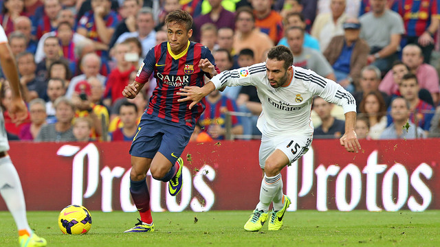 Neymar and Carvajal at the Camp Nou