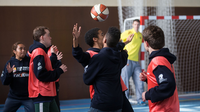 Special Olympicsathletes during the basketball session.