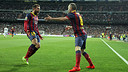 Iniesta celebrates with Jordi Alba his goal at the  Bernabéu / PHOTO: MIGUEL RUIZ - FCB