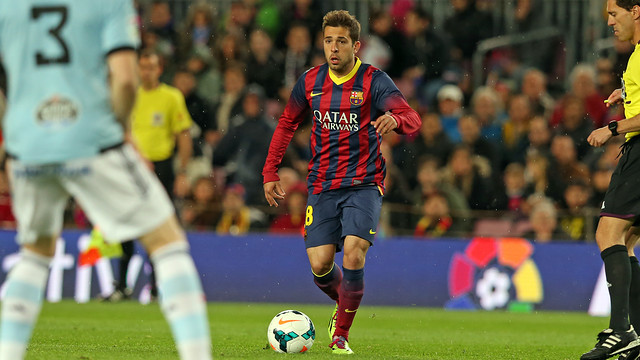 Jordi Alba in action against Celta.