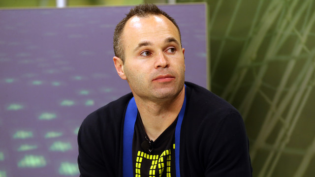 Iniesta was talking to El Marcador on Barça TV. PHOTO: MIGUEL RUIZ-FCB.