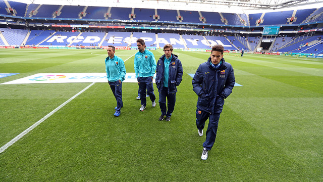 Pitch inspection prior to the derby in Cornellà. PHOTO: MIGUEL RUIZ -FCB