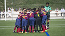 The Aleví A team, in a game at the Ciutat Esportiva. PHOTO: Arxiu FCB
