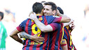 The players celebrate the opening goal against Betis / PHOTO: MIGUEL RUIZ-FCB