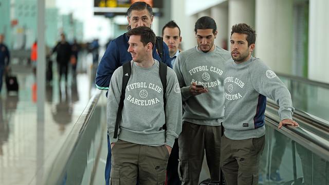 Messi, Pinto i Alba, durant el viatge.