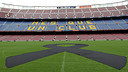 A giant black ribbon in the centre of the Camp Nou pitch this morning  / PHOTO: MIGUEL RUIZ - FCB