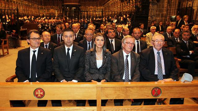 Josep Maria Bartomeu y los expresidentes del Club han asistido al acto. / FOTO: MIGUEL RUIZ-FCB