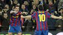 Xavi i Messi, contra el Getafe 2009/10. FOTO: MIGUEL RUIZ-FCB.