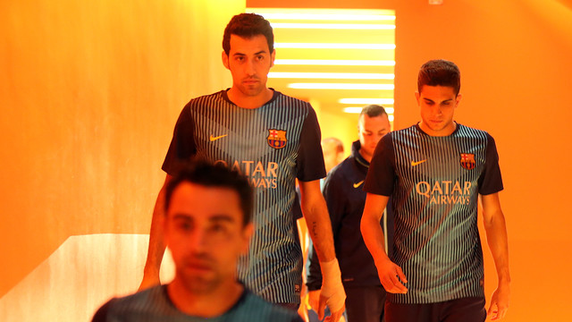 Busquets, just before going onto the Camp Nou pitch / PHOTO: MIGUEL RUIZ-FCB