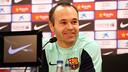 Andrés Iniesta, en roda de premsa / FOTO: MIGUEL RUIZ - FCB