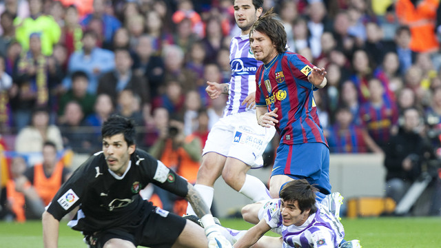 Messi scoring against Valladolid in 2010