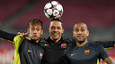 Neymar, Adriano and Alves / PHOTO: Miguel Ruiz - FCB