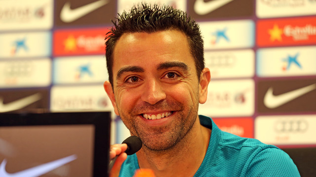Xavi, during the press conference. PHOTO: MIGUEL RUIZ - FCB