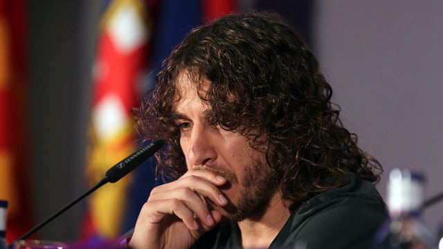 Carles Puyol at today's farewell event