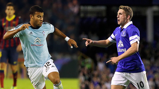 Rafinha and Deulofeu in Celta and Everton colours