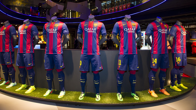 The new 2014-15 first team shirt is now on sale at official club stores / PHOTO: VÍCTOR SALGADO - FCB