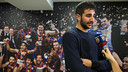 Ricky Rubio spoke to the club's media during the break at the Palau / PHOTO: GERMÁN PARGA - FCB