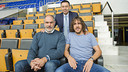 Josep Maria Bartomeu, Andoni Zubizarreta and Carles Puyol, at the Camp Nou / PHOTO: VÍCTOR SALGADO-FCB