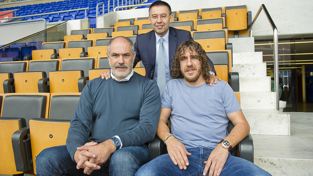 Josep Maria Bartomeu, Andoni Zubizarreta and Carles Puyol, at the Camp Nou / PHOTO: VÍCTOR SALGADO-FCB
