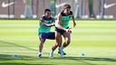 Alves and Piqué, at training / PHOTO: MIGUEL RUIZ - FCB