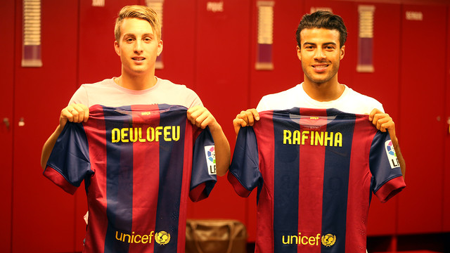 Deulofeu and Rafinha back in the Barça dressing room / PHOTO: MIGUEL RUIZ-FCB