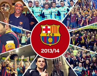 Fotomuntatge amb els moments més destacats del Barça Alusport durant la temporada 2013/14