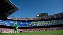 Los jugadores de la FCBEscola en el Camp Nou