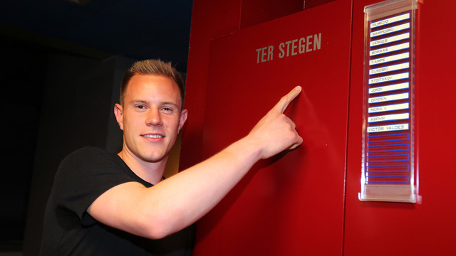 Ter Stegen points at his new locker in the Camp Nou
