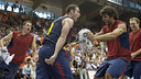 Marcelinho and his teammates celebrate getting into the final of the Liga Endesa/ PHOTO: ACB.COM