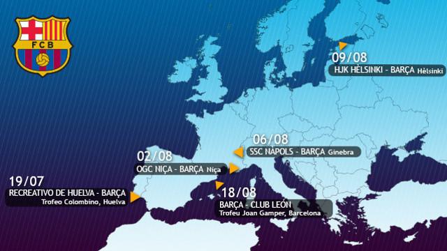 El mapa de las localizaciones donde se disputarán los partidos de la pretemporada contra los rivales conocidos