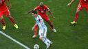 Messi takes on three Swiss defenders / PHOTO: FIFA.com